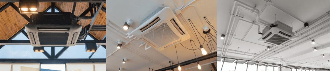 Пример монтажа кассетного кондиционера под потолком